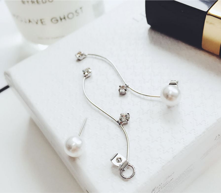 Star Pearl Strip Long Earring Fenlyn