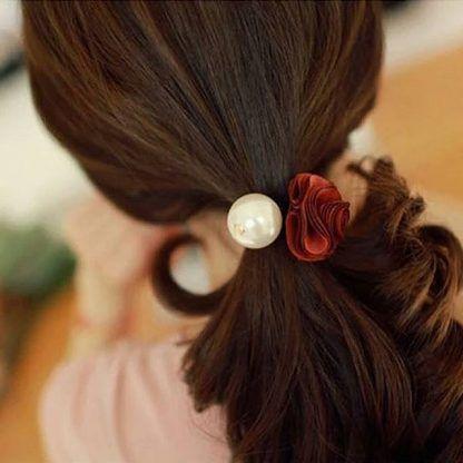rose pearl hair tie